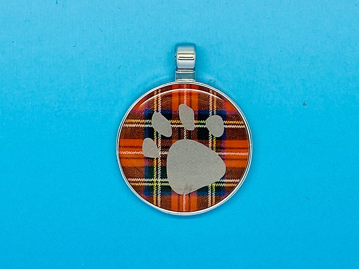 RED DOT Pet Tags - Tartan Circle Paw Print