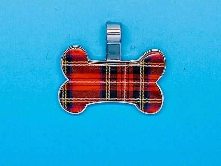 RED DOT Pet Tags - Tartan Bone