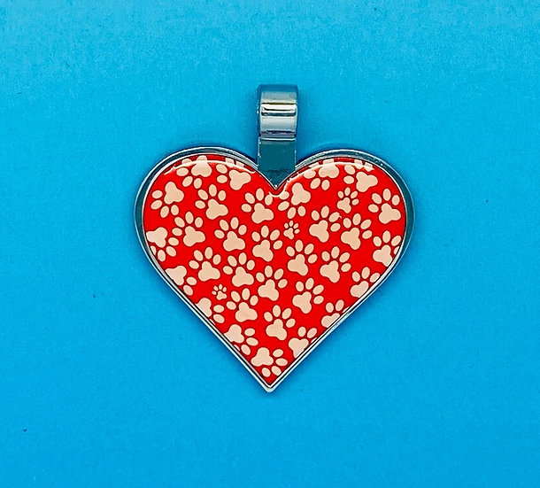RED DOT Pet Tags - Red Heart Shape Paw Print