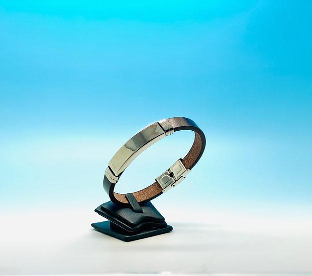 Mens Steel - Brown Leather Bracelet (Silver)