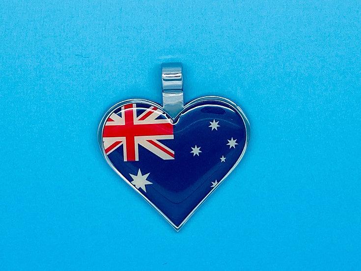 RED DOT Pet Tags - Heart Shape Australian Flag