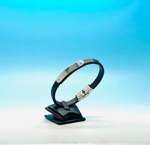 Mens Steel - Black Leather Bracelet (Silver)