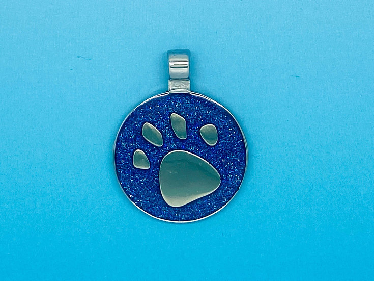 copy of RED DOT Pet Tags - Blue Circle Paw Print