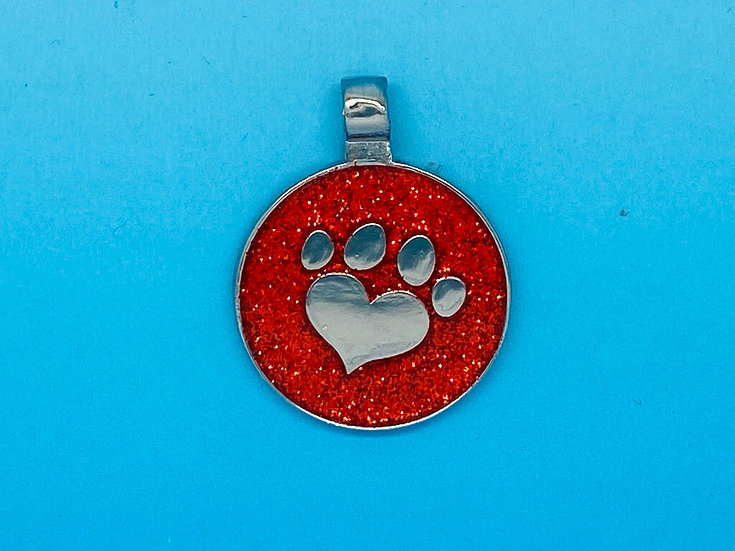 RED DOT Pet Tags - Red Glitter Heart Paw