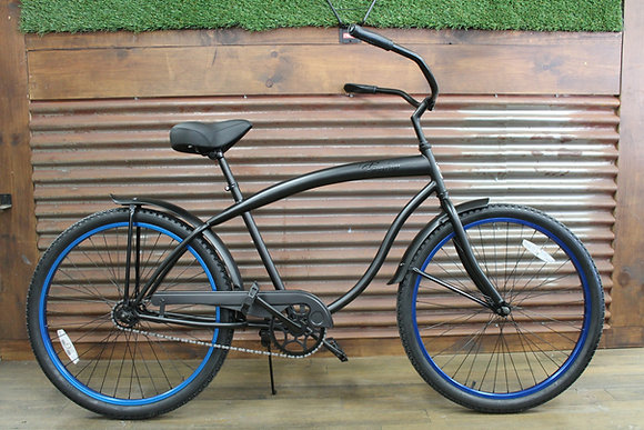 "26"" Flat Black/Blue Men's Cruiser"