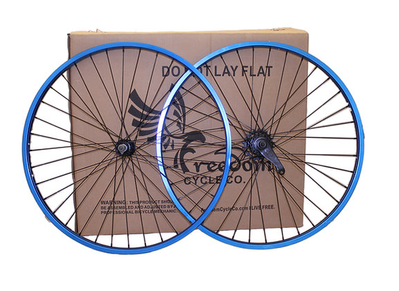 "26"" Beach Cruiser Single Speed Wheelset Blue"