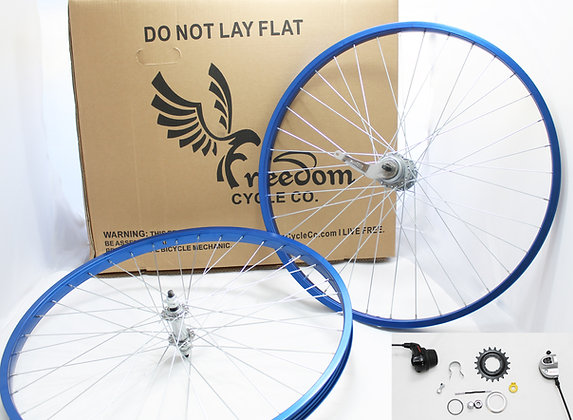 "Beach Cruiser 3 Speed 26"" Wheel Kit - BLUE"