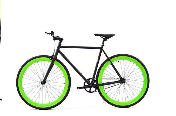 Flat Black/Green Fixie
