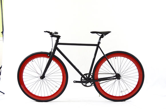 Flat Black/Red Fixie