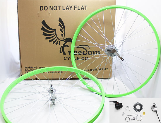 "Beach Cruiser 3 Speed 26"" Wheel Kit - NEON GREEN"