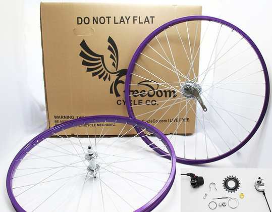 "Beach Cruiser 3 Speed 26"" Wheel Kit - PURPLE"