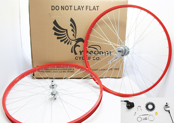 "Beach Cruiser 3 Speed 26"" Wheel Kit - RED"