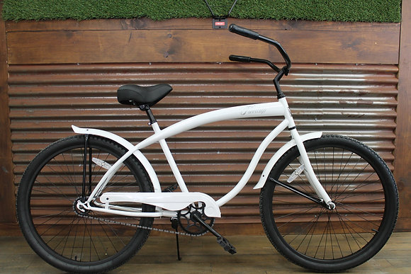 "26"" White/Black Mens Cruiser"
