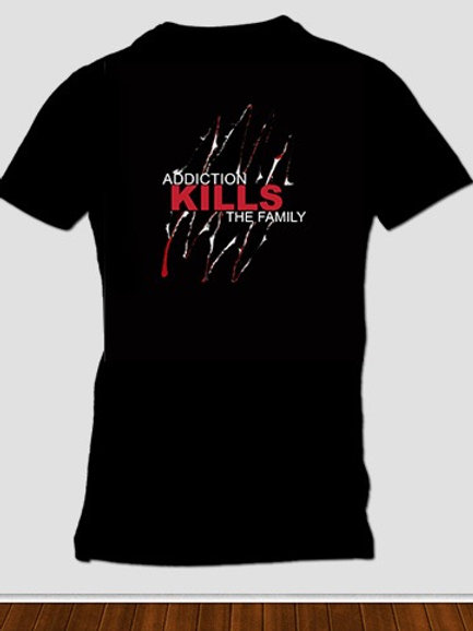 Black with red and white printed tee. Raising awareness