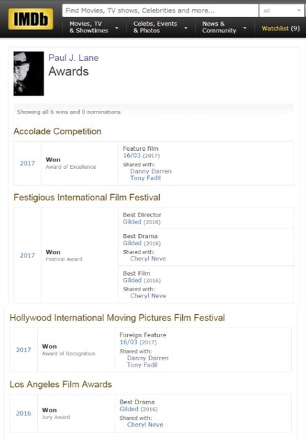 The Film Actors Club Film Coach Paul J Lane has 7 official award wins on IMDb (6 wins this year)