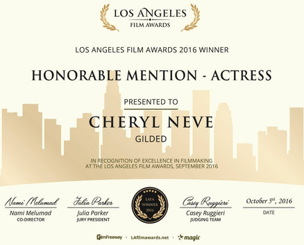 "Film Actors Club Cheryl Neve wins ""Honourable Mention - Actress"" at The Los Angeles Film A"