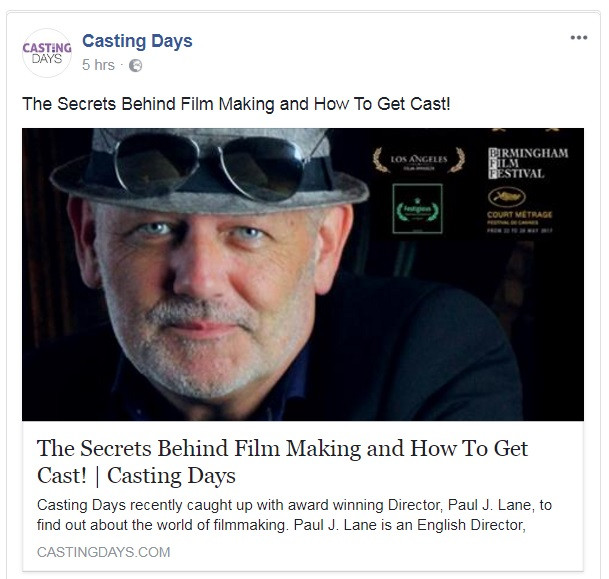 Paul J Lane Interviewed by Casting Days about Film Making and Casting.