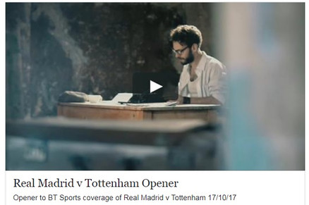 Film Actors Club Distinction Member in Opener to BT Sports coverage of Real Madrid v Tottenham 17/10