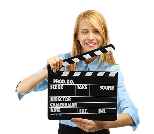Young attractive woman holding film clap