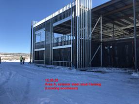 Area A, exterior steel stud framing-SE