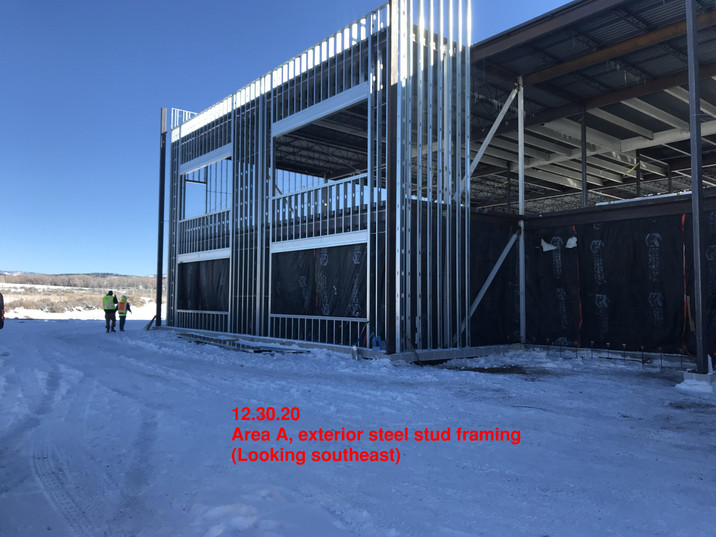 Area A, exterior steel stud framing-SE