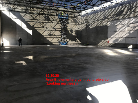 Area B, elementary gym, concrete slab