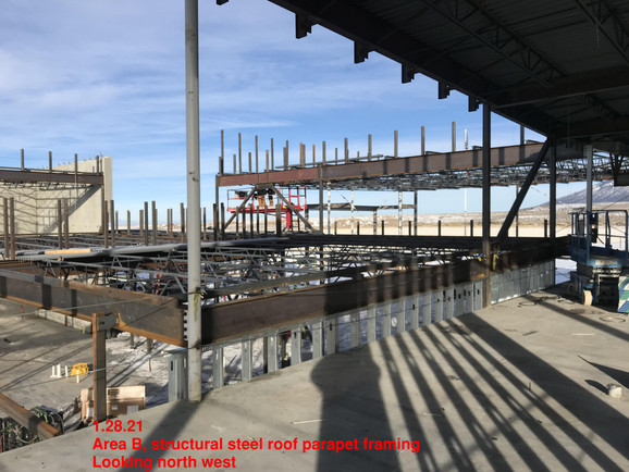 Area B, structural steel roof parapet fr