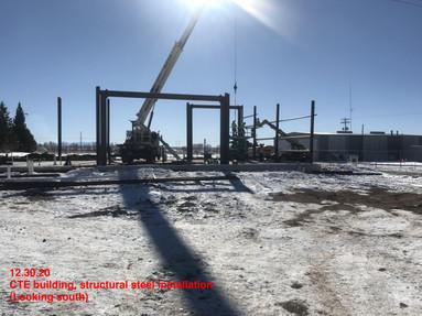 CTE building, structural steel installation