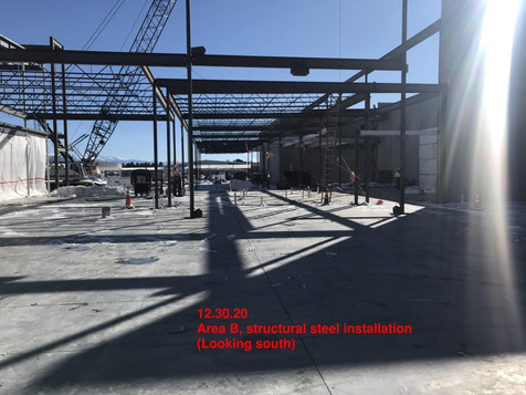 Area B, structural steel installation
