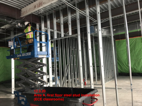 Area A, first floor steel stud installation