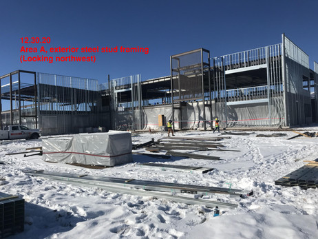 Area A, exterior steel stud framing-NW