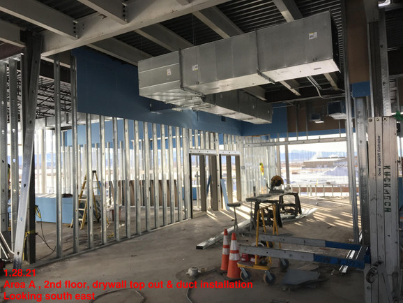 Area A , 2nd floor, drywall top out & du
