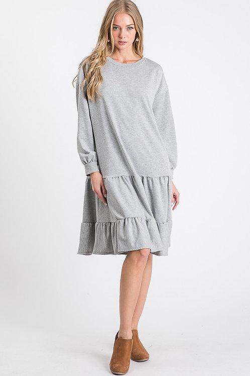 The Fall Jersey Dress in Heather Grey
