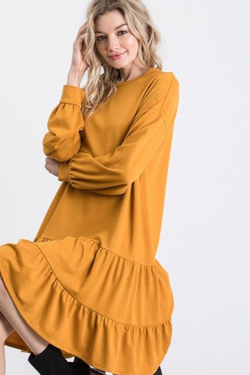 The Fall Jersey Dress in Mustard