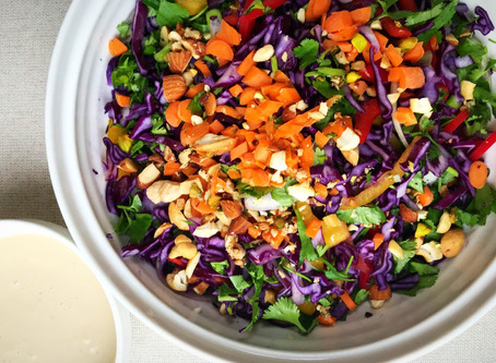 Crunchy Veggie Slaw with a Creamy Ginger Dressing