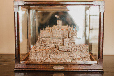 A sculpture of St. Michael's Mount is counted as one of the treasures of the castle, and is to be the first article saved in case of a fire in the castle. It resides there among other artifacts including weaponry and a samurai suit.  Mary Kathryn Carpenter