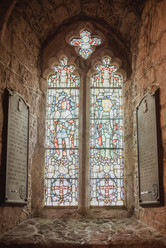 A stained glass window adorns the chapel at St. Michael's Mount.  Mary Kathryn Carpenter