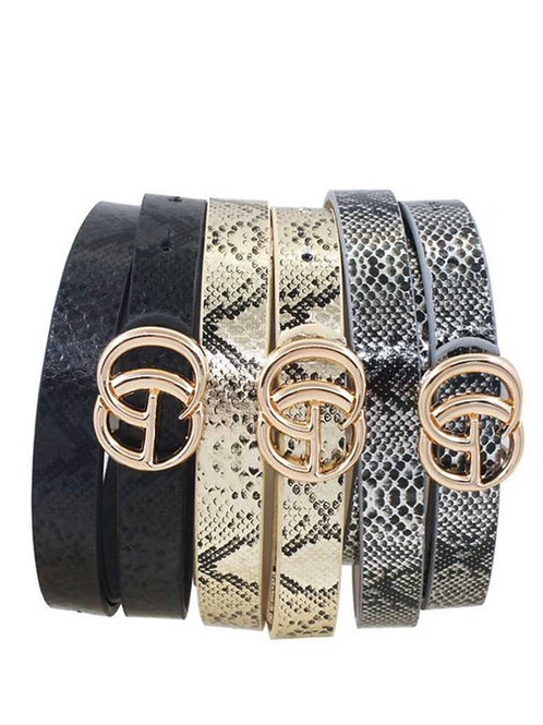 Snakeskin Thin G Belts