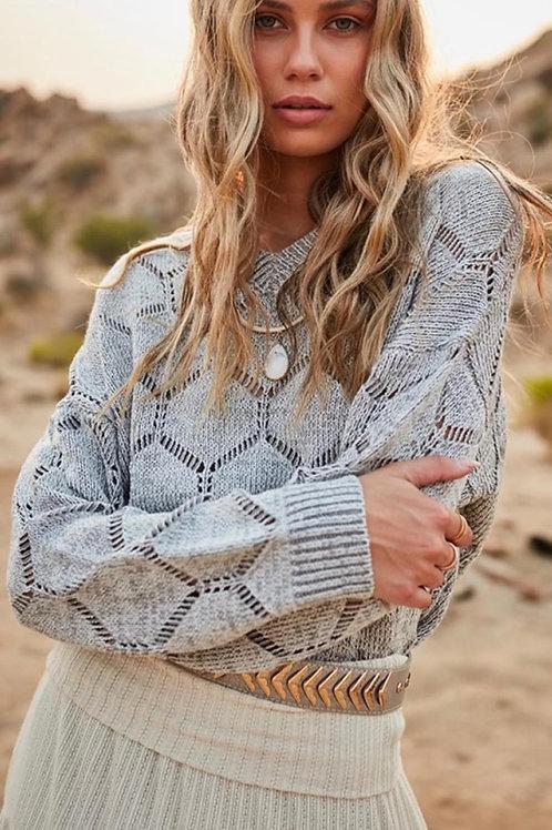 Boho Crochet Knit Sweater