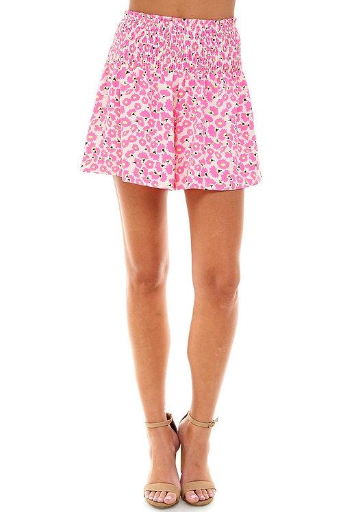 Printed Smocked Shorts
