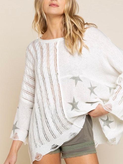 Destroyed Star Lightweight Sweater