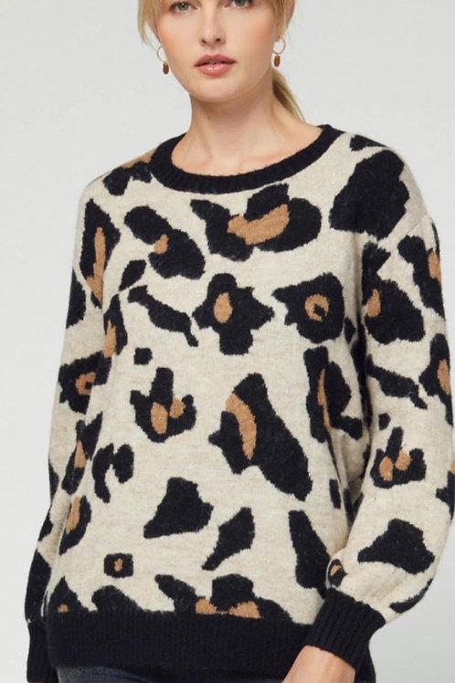 Crewneck Sweater - Cheetah Print