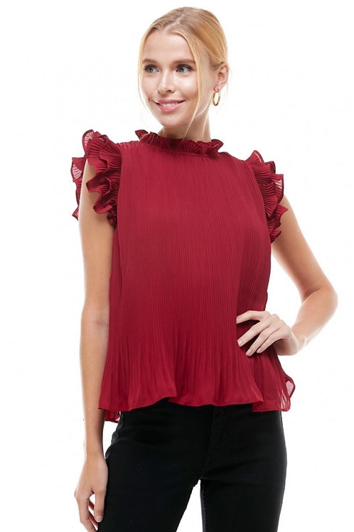 Red Pleated Top