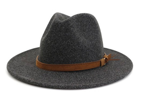 Wide Brim Felt Hat - Detailed Leather Strap