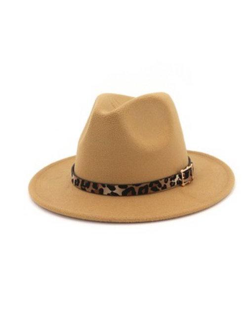 Cheetah Print Wide Brim Felt Hat