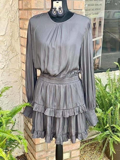 Gunmetal Smocked Dress