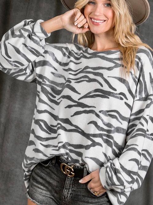 Zebra Print Fleece Pullover Top