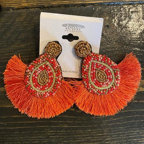 Orange Beaded + Fringed Earrings