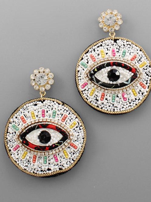 Colorful Beaded Evil Eye Earrings