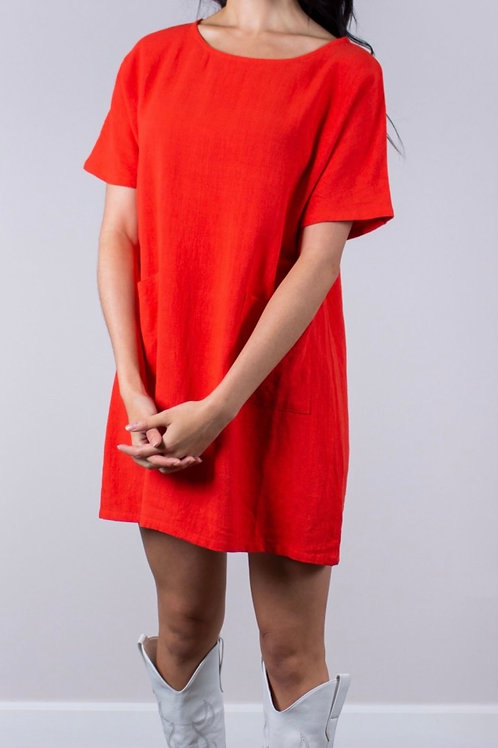 Linen Tunic / Dress with Front Pockets